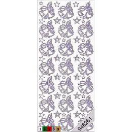 Sticker Aufkleber Weihnachtsglocken 10x23cm, 1 Stück silber