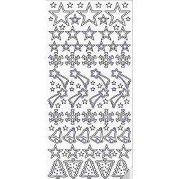 Sticker Aufkleber Sterne+Glocken+Baum 10x23cm, 1 Stück silber