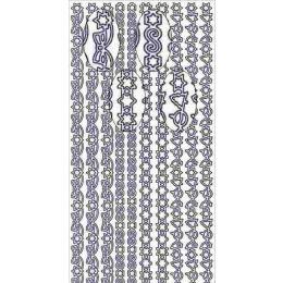 Sticker Aufkleber Weihnachtsrand Schleife 10x23cm, 1 Stück silber