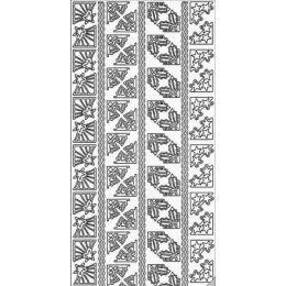 Sticker Aufkleber Weihnachtsecken 10x23cm, 1 Stück silber