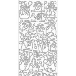 Sticker Aufkleber Schneemann 10x23cm, 1 Stück silber