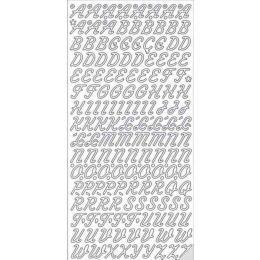 Sticker Aufkleber große schräge Buchstaben 10x23cm, 1 Stück  silber