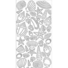 Sticker Aufkleber Muscheln 10x23cm, 1 Stück  silber