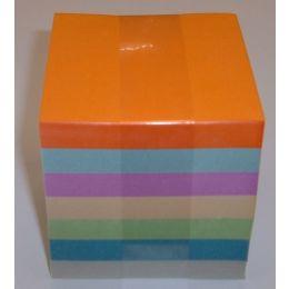 Notizzettel geleimt, 7-farbig, ca. 8,5 x 8,5 x 8,5cm,1 Stück