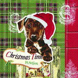 P+ D Serviette, Doggy Christmas, 3 lagig, 33x33cm, 1/4 Falz