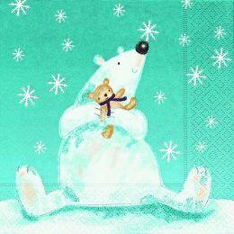 P+ D Serviette, Funny Polar Bear, 3 lagig, 33x33cm, 1/4 Falz