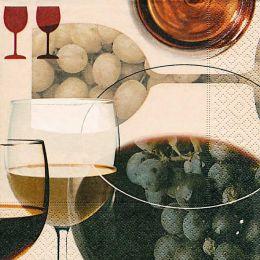 P+ D Serviette, Celebrate Wine, 3 lagig, 33x33cm, 1/4 Falz