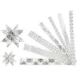 Papierstreifen für Fröbelsterne silber / weiss, 48 Stück