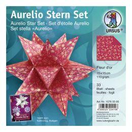 Aurelio Stern Set ANTARES rot / gold 15 x 15cm 110g, 33 Blatt