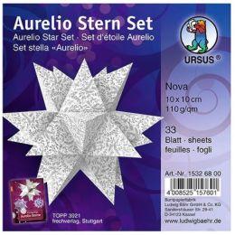 Aurelio Stern Set NOVA weiss / silber 10 x 10cm 110g, 33 Blatt