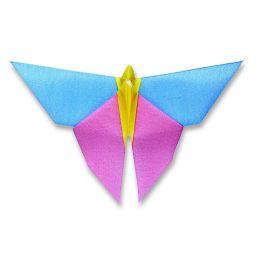 Origami Serviette Schmetterling, 40x40cm, 1/4 gefalzt, 1 lagig, 12 Stück, Farbe pink/blau/gelb