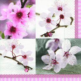 P+ D Serviette, Flowering Time, 3 lagig, 33x33cm, 1/4 Falz