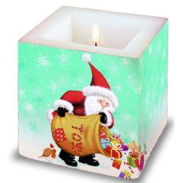 Dekorkerze Santas Rain, eckig 8x8x8cm, in Folie verpackt, 1 Stück