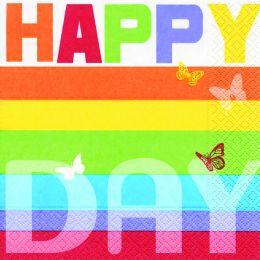 P+ D Serviette, Colourful day, 3 lagig, 33x33cm, 1/4 Falz