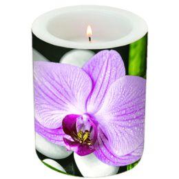 Dekorkerze Exotic Blossom , rund 10,5x12cm, in Folie verpackt, 1 Stück