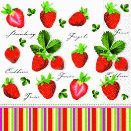 P+ D Serviette, Strawberries all over, 3 lagig, 33x33cm, 1/4 Falz