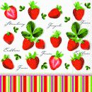 P+ D Serviette, Strawberries all over, 3 lagig, 33x33cm,...