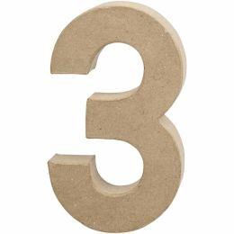 Zahl groß Pappmache H=20,5cm, 3, 1 Stück