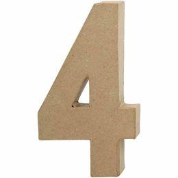 Zahl groß Pappmache H=20,5cm, 4, 1 Stück