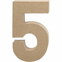 Zahl groß Pappmache H=20,5cm, 5, 1 Stück