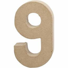 Zahl groß Pappmache H=20,5cm, 9, 1 Stück