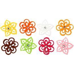 Filz Blumen 8 verschiedene Farben, 1 Set
