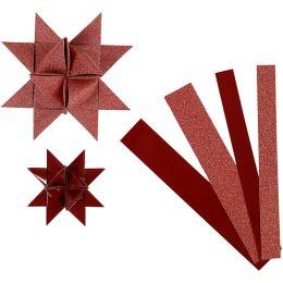Papierstreifen Glitter und Lack für Fröbelsterne rot, 1 Pack