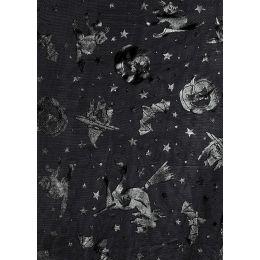 CREApop® Deko Stoff  Halloween schwarz 29cm x 15m, 1 Rolle