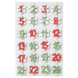 Mini Holzzahlen Set 1-24 bunt Eiskristall, 1 Blatt