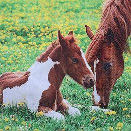 P+ D Serviette, Mother horse and foal, 3 lagig, 33x33cm, 1/4 Falz