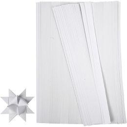 Papierstreifen Fröbelsterne weiß, 1cm x 45cm, 500 Stück