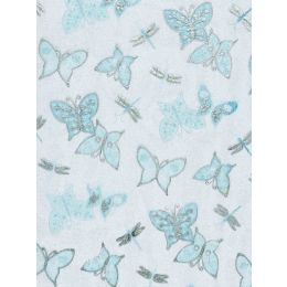 CREApop® Deko Stoff Schmetterlinge tuerkis-silber 29cm x 15m, 1 Rolle