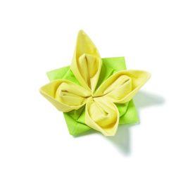 Origami Serviette Seerose, 40x40cm, 1/4 gefalzt, 1 lagig, 12 Stück, Farbe grün/gelb