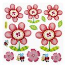 2D Sticker Blumen XXL, 1 Blatt