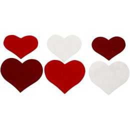 Filz Herzen sort.H=3,5+4+5cm, 36 Stück