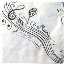 Serviette Musik, 3 lagig, 33x33cm, 1/4 Falz