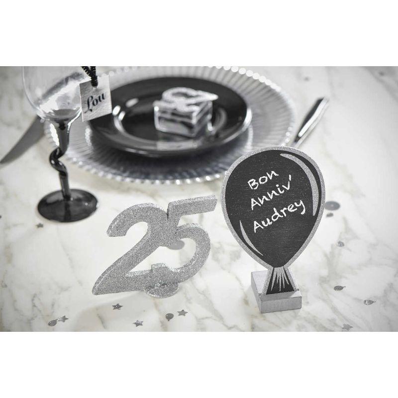tafel aus holz mit fu ballon glitter 10 x 15cm 1 st ck. Black Bedroom Furniture Sets. Home Design Ideas