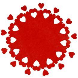 Tischläufer Mitteldecke Herzen rot d=73cm, 5 Stück