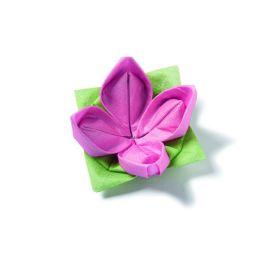 Origami Serviette Seerose, 40x40cm, 1/4 gefalzt, 1 lagig, 12 Stück, Farbe grün/pink