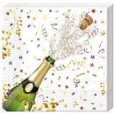 Serviette Happy New Year, 3 lagig, 33x33cm, 1/4 Falz