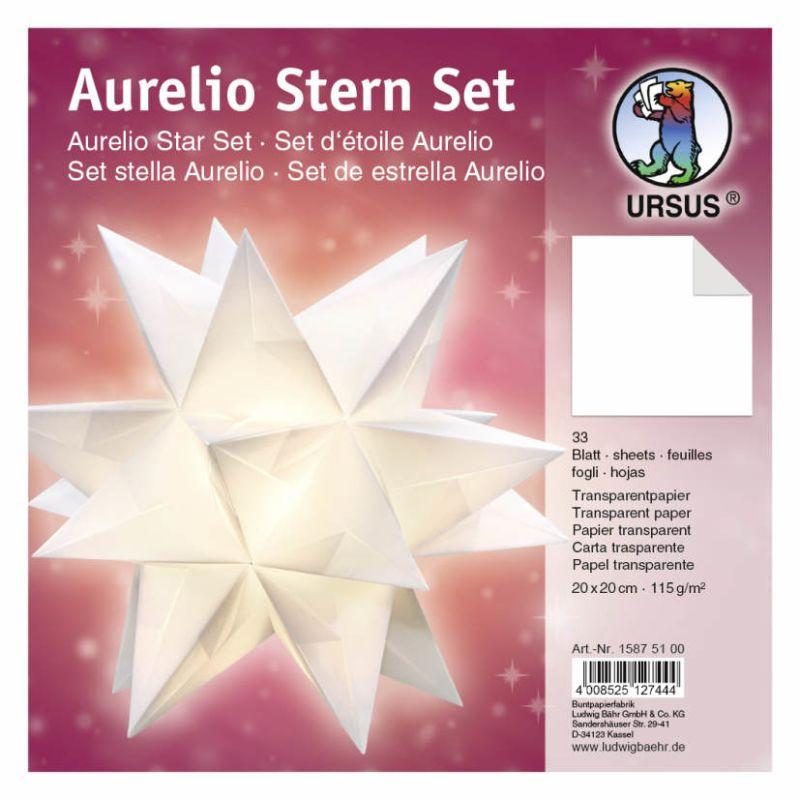 Aurelio Stern Set Transparentpapier Weiss 20 X 20cm 115g 33blatt