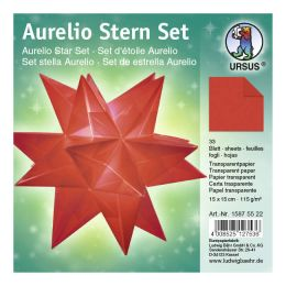 Aurelio Stern Set Transparentpapier rot 15 x 15cm 115g, 33Blatt