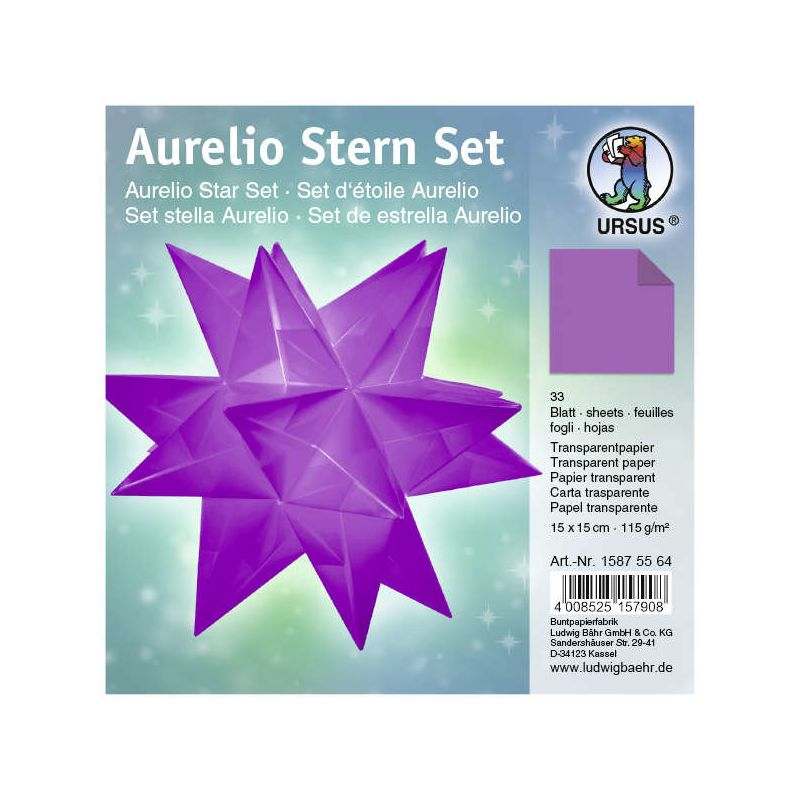 Aurelio Stern Set Transparentpapier Aubergine 15 X 15cm 115g 33blatt