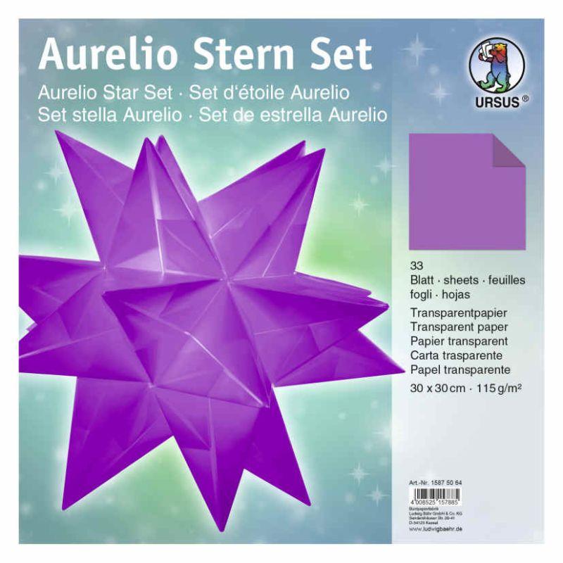 Aurelio Stern Set Transparentpapier Aubergine 30 X 30cm 115g 33blatt