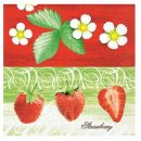 Mank Serviette Strawberry 4 lagig, 40x40cm, 50 Stück