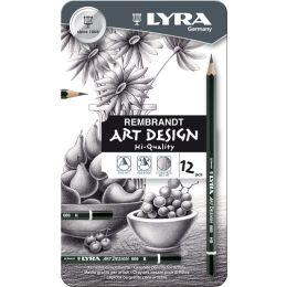 Bleistift 669 ART DESIGN, Metalletui mit 12 Stück, Härte 6B-4H