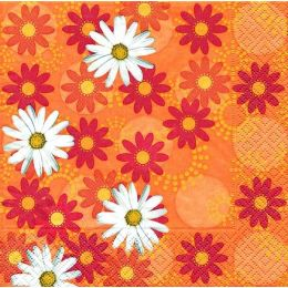P + D Serviette, Daises all over, 3 lagig, 33x33cm, 1/4 Falz