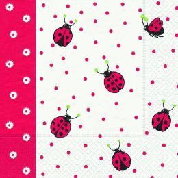 P + D Serviette, Ladybirds and dots, 3 lagig, 33x33cm, 1/4 Falz
