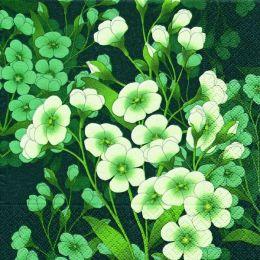 P + D Serviette, White florets, 3 lagig, 33x33cm, 1/4 Falz