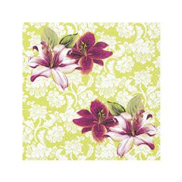 P + D Serviette, Lilies with ornaments, 3 lagig, 33x33cm, 1/4 Falz